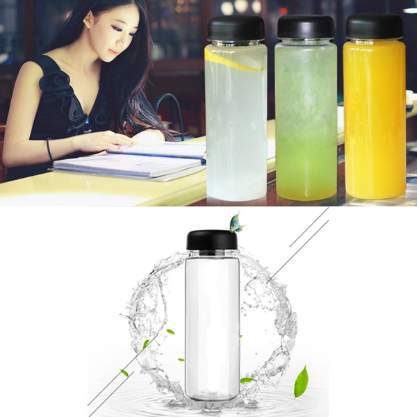 500ml Portable Clear Water Bottle Sport Bicycle Plastic Fruit Lemon Juice Water Cup