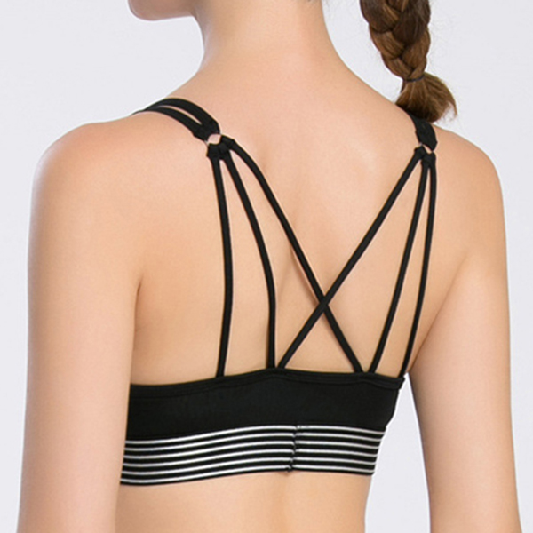 Sexy Breathable Cross-Criss Wireless Bra Keyhole Front Stripe Hem Sports Yoga Underwear For Women