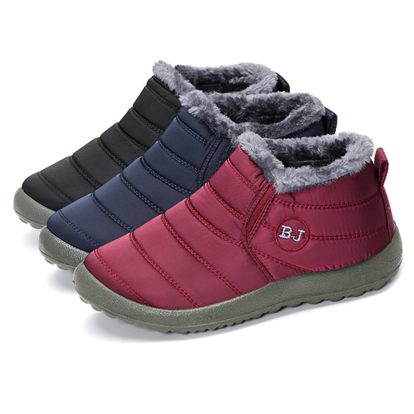 Warm Wool Lining Slip On Flat Ankle Snow Boots For Women ...