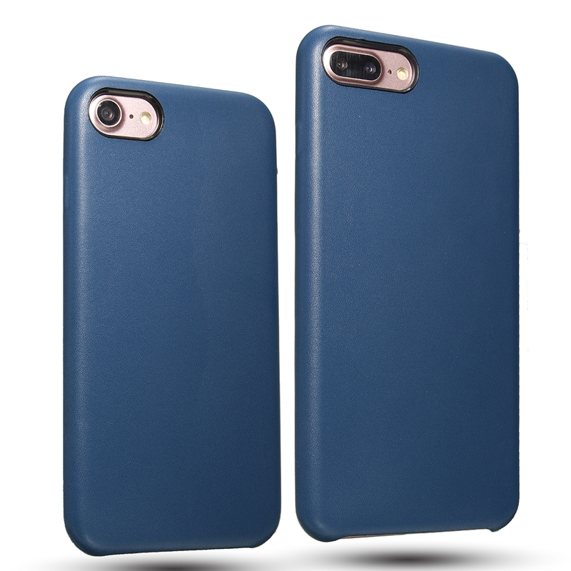 Navy Blue PU Leather Shockproof Back Case Cover For iPhone 7/7 Plus