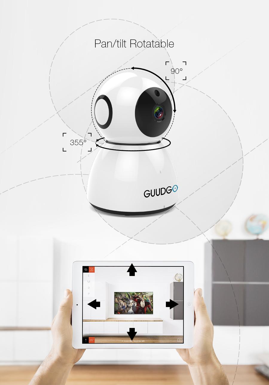 GUUDGO GD-SC03 Snowman 1080P Cloud WIFI IP Camera Pan&Tilt IR-Cut Night Vision Two-way Audio Motion Detection Alarm Camera Monitor Support Amazon-AWS[Amazon Web Services] Cloud Storage Service