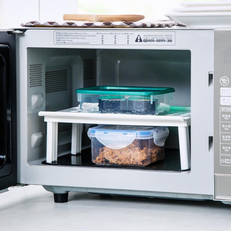 Honana KS-961 Plastic Kitchen Refrigerator Fridge Storage Rack Multi-Functional Microwave Heating Rack Steam Rack