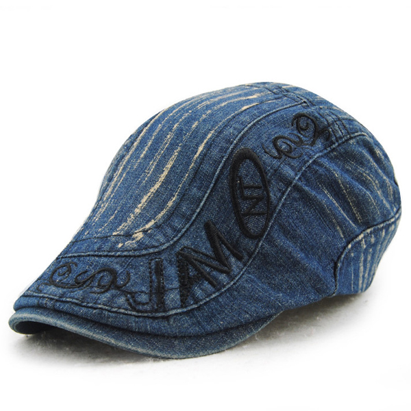Buy Mens Cotton Washed Embroidery Beret Hat Buckle Adjustable Paper Boy Newsboy Cabbie Cap
