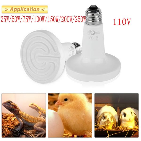 Image of Diametro 90 millimetri in ceramica emettitore riscaldata elettrodomestici pet lampada di calore rettile 25w / 50w / 75w / 100w / 150w / 200w ac 110v