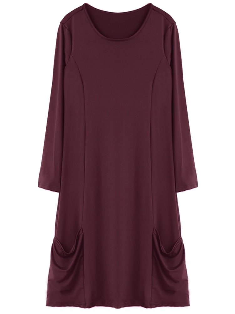 Casual O-Neck Long Sleeve Solid Loose Pockets Women Dress