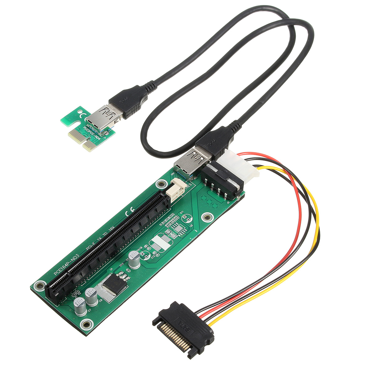 USB 3.0 PCI-E Express 1x to16x Extension Cable Extender Riser Board Card Adapter SATA Cable