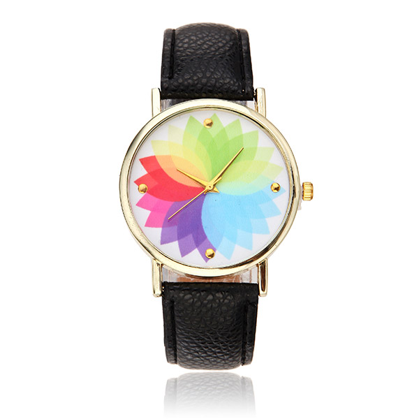 Colorful Flower Pattern Casual Gold color Case Women Analog Quartz Wrist Watch