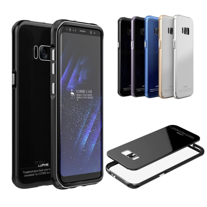 Luphie Anti Knock Metal Bumper+Colored 9H Tempered Glass Back Cover Case For Samsung Galaxy S8 Plus