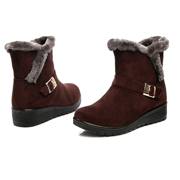 Women Winter Snow Boots Round Toe Flat Boots Cotton Ankle Boots