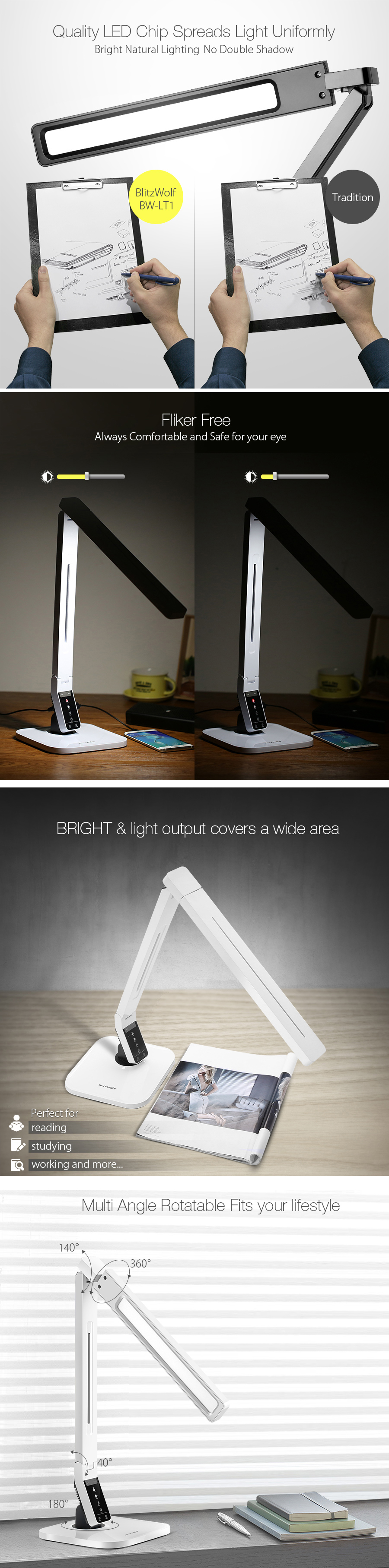 Table lamp vs desk lamp - Blitzwolf Bw Lt1 Eye Protection Smart Led Desk Lamp Table Lamp Light Rotatable Dimmable