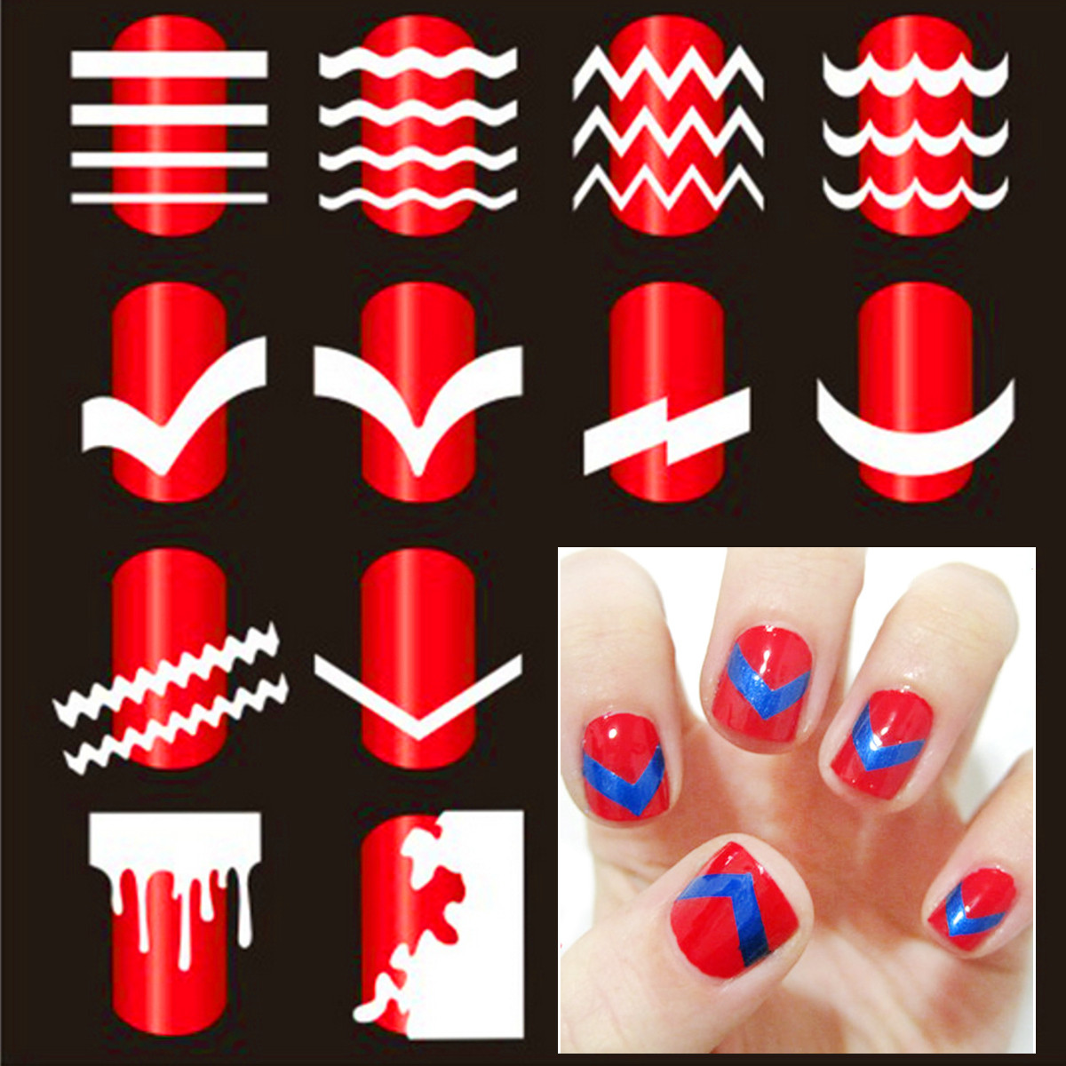 French Nail Art Tip Tape Guide Stencil Manicure Tool For Sticker ...
