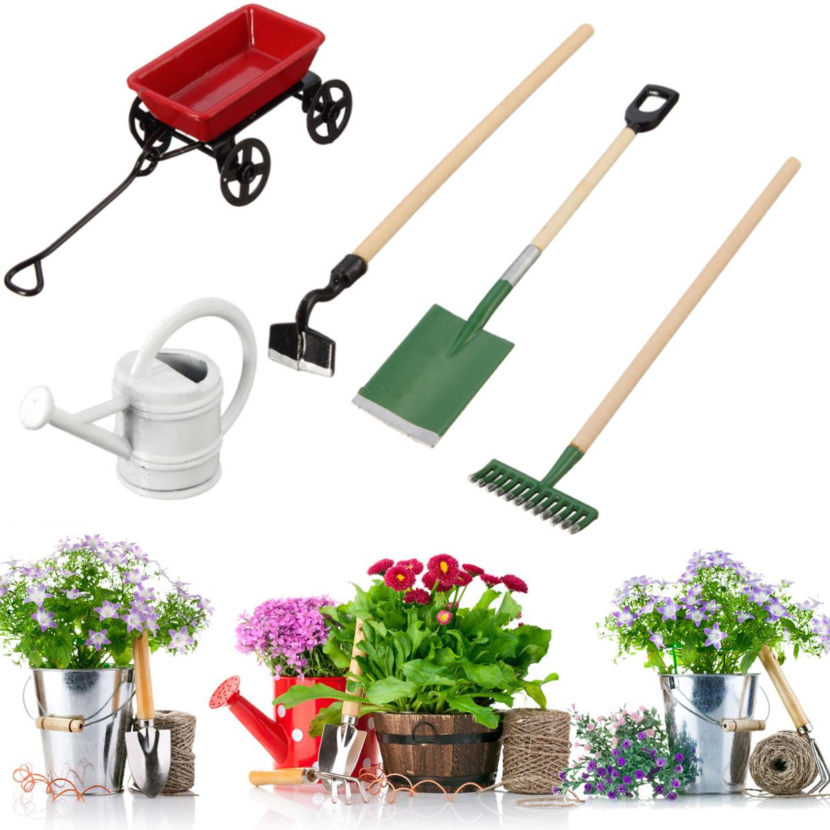Metal watering can pulling cart spade rake garden tools for Garden tools accessories
