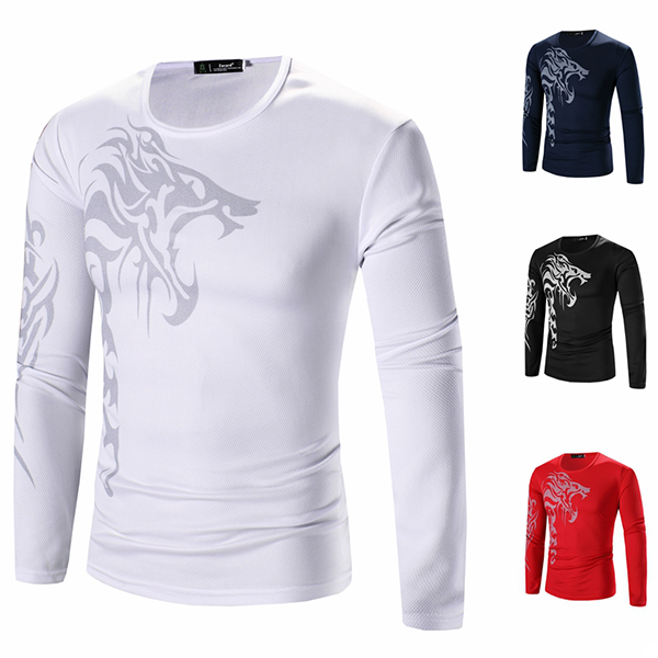 Mens fashion wolf tattoo printing bottoming t shirts for Tattoo shirts long sleeve