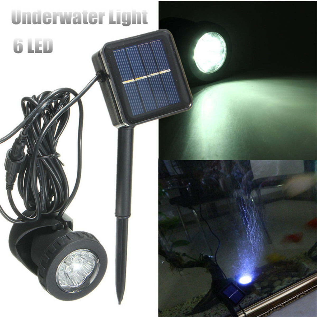 solar power u boot underwater lampe led light garten. Black Bedroom Furniture Sets. Home Design Ideas