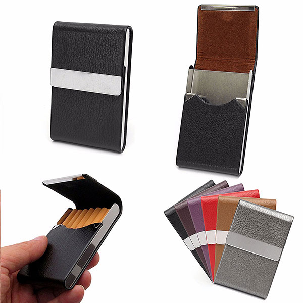 PU Leather Cigarette Case Tobacco ID Card Holder Multif