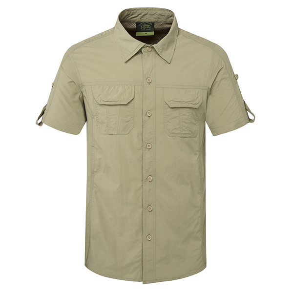 Buy Mens Outdoor Sport Summer Breathable Quick-drying Solid Color Short Sleeve Casual Shirts