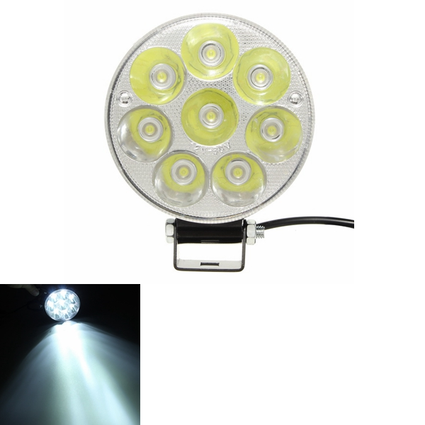 Buy 12V 21W 6000K Motorcycle Super Bright Spotlight LED Headlight Round High-power Projection Lamp