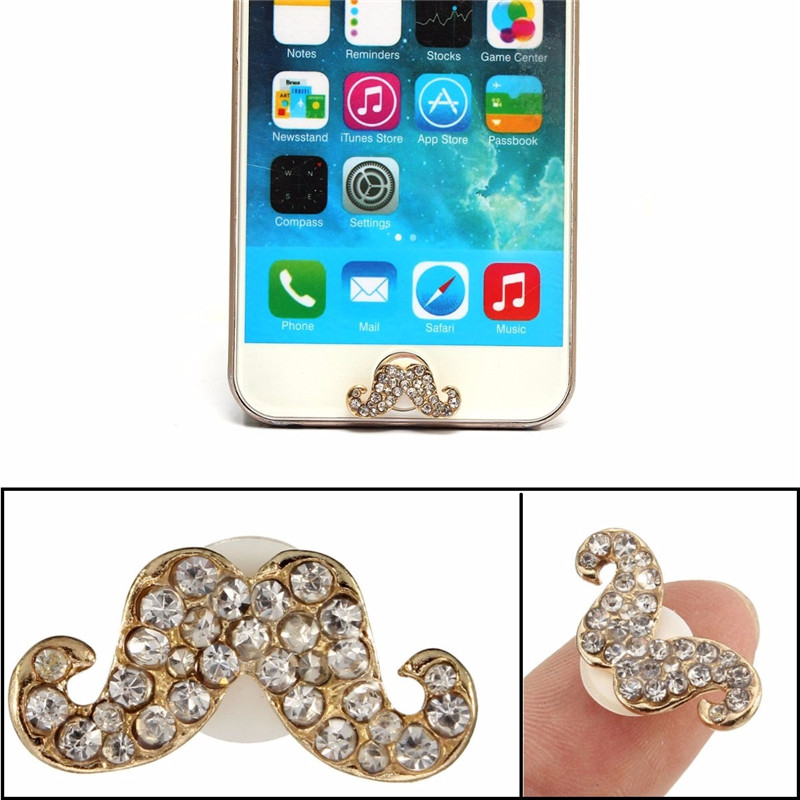 3D Crystal Diamond Mustache Home Button Sticker For iPhone 5 5S 6 6S Plus