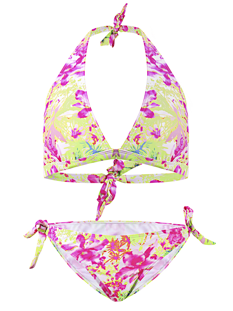 RELLECIGA Sexy Floral Pattern Backless Bikini Lace-Up Halter-triangle Swimwear Sets