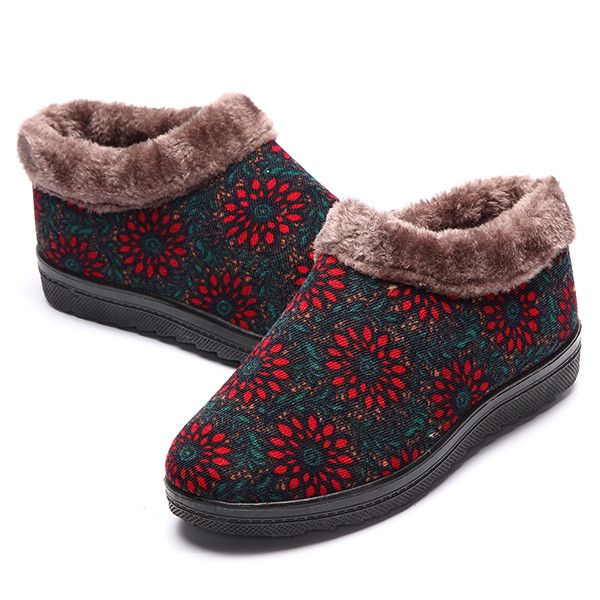 Flower Warm Faux Fur Lining Slip On Casual Snow Ankle Boots