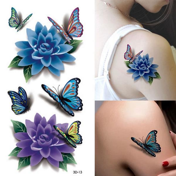 colorful 3d butterfly flower rose tattoo sticker waterproof temporary decal diy body art at banggood. Black Bedroom Furniture Sets. Home Design Ideas