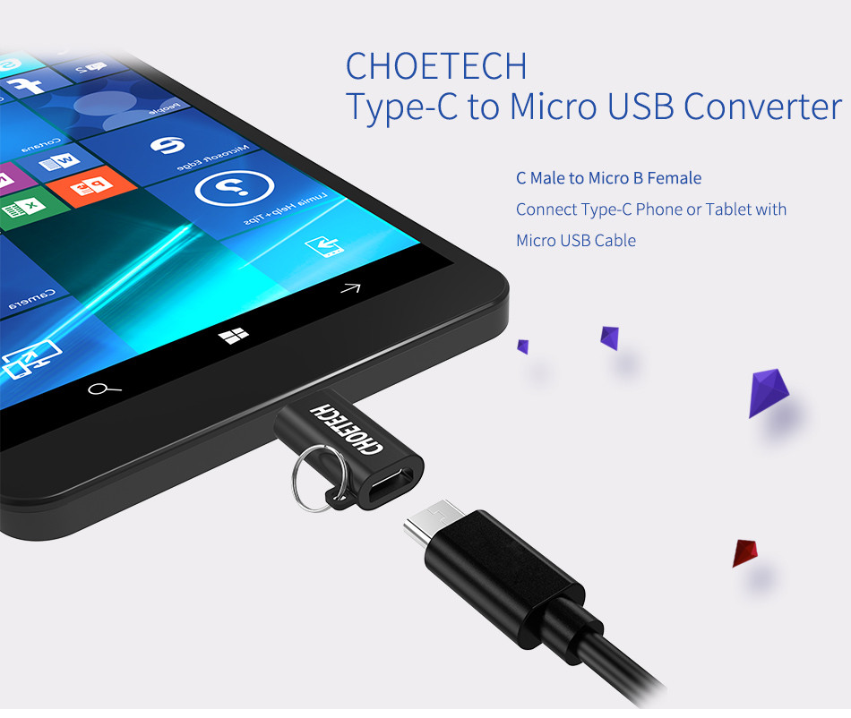 choetech 5v 2 4a usb type c male to micro usb female connector converter adapter. Black Bedroom Furniture Sets. Home Design Ideas