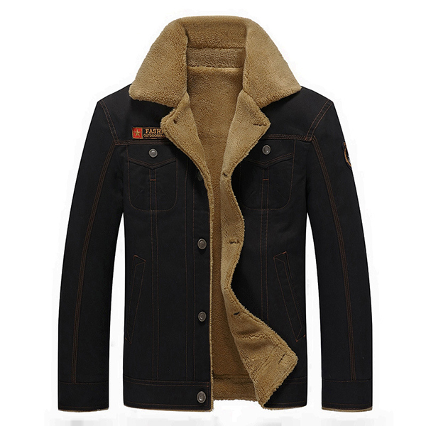 mens thick fleece turn down jacket fashion warm winter. Black Bedroom Furniture Sets. Home Design Ideas