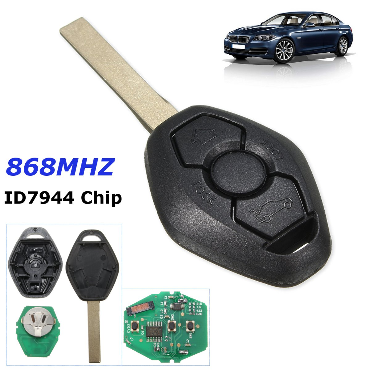 3 button uncut remote key fob 868mhz id7944 for cas2. Black Bedroom Furniture Sets. Home Design Ideas