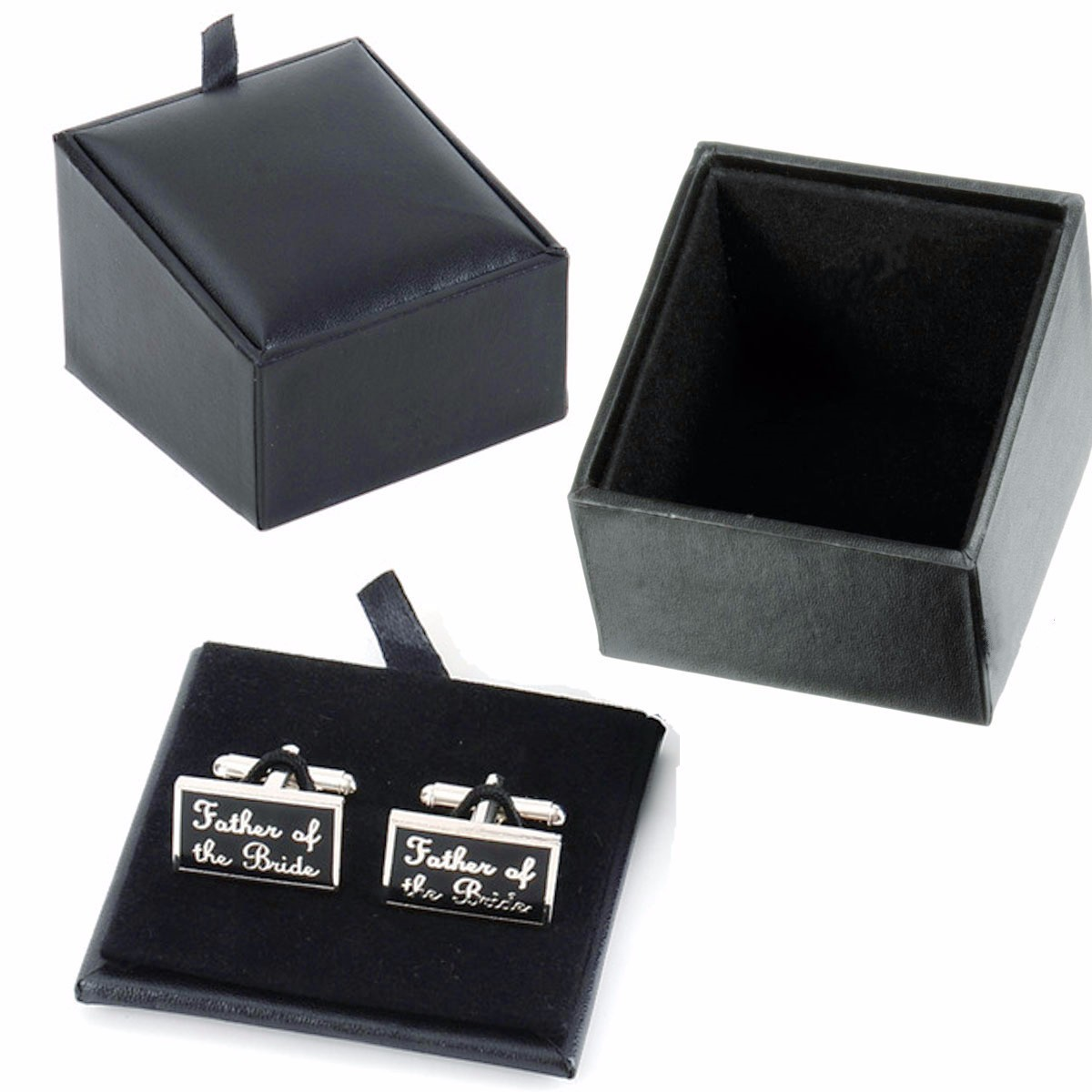 Unisex Men Women Cufflink Rings Earring Stroage Black PU ...