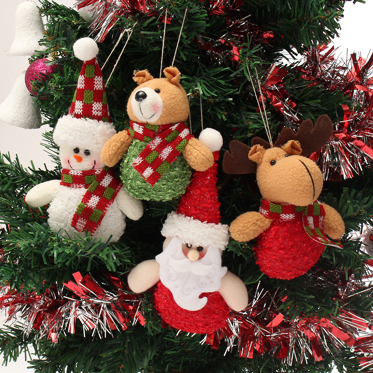 Christmas Haning Dolls Ornaments Snowman Reindeer Santa Claus Bear Xmas Decor - Photo: 1