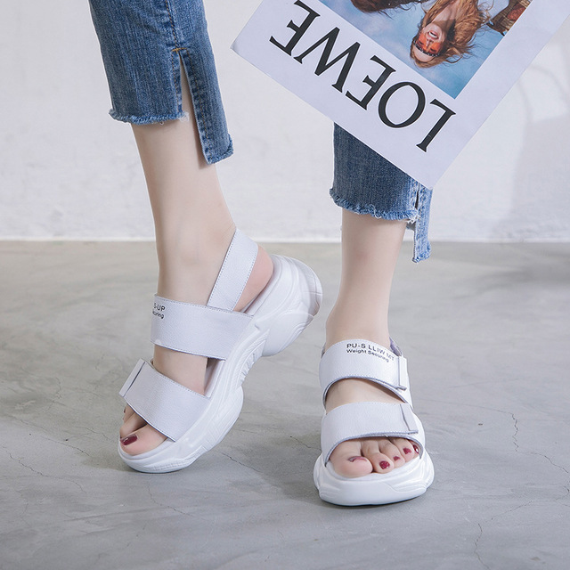 Leather Sandals Season New Sandals Women Increase Thick Platform Casual Shoes Wild Net Red Sandals Student Shoes