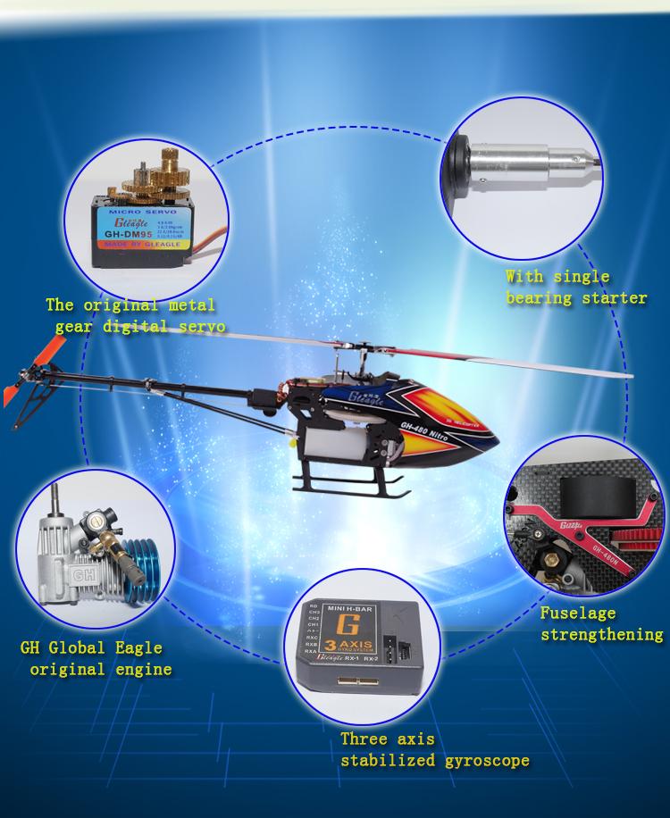 Global Eagle 480N Gleagle 480N 2.4Ghz 9CH DFC Fuel Oil Nitro RC Helicopter RTF - Photo: 6