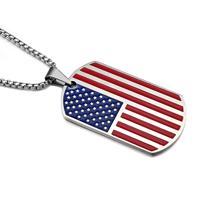 American Flag Sports Titanium Steel Necklace Trendy Unisex Clothing Accessories