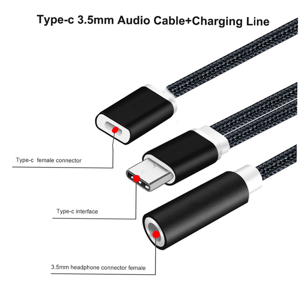 bakeey 2 in 1 type c to audio jack charger adapter headphone cable for letv 2 pro max. Black Bedroom Furniture Sets. Home Design Ideas