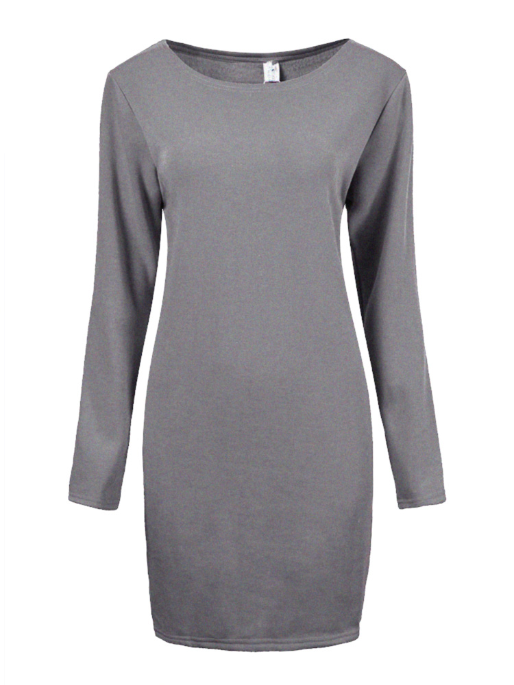 plus size casual women o neck long sleeve warm solid dress