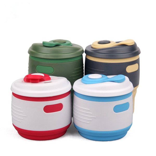 Portable Folding Travel Cup Collapsible Silicone Coffee Tea Mug Camping Hiking Water Bottle