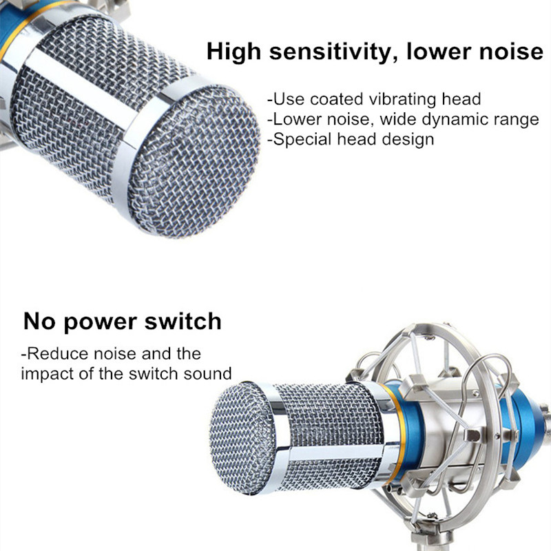 Metal Noise-cancelling HD Sound Shock-proof Live Broadcast Recording 3.5mm Condenser Microphone