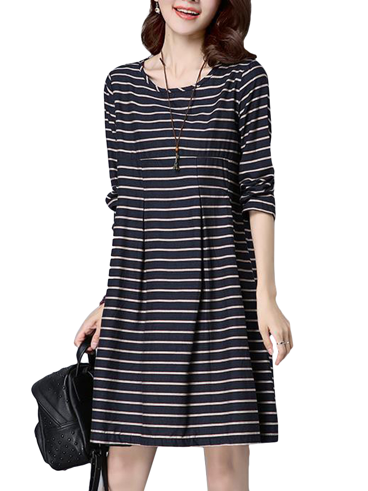 Casual women stripe long sleeve loose elegant waist dress for Made to measure casual shirts