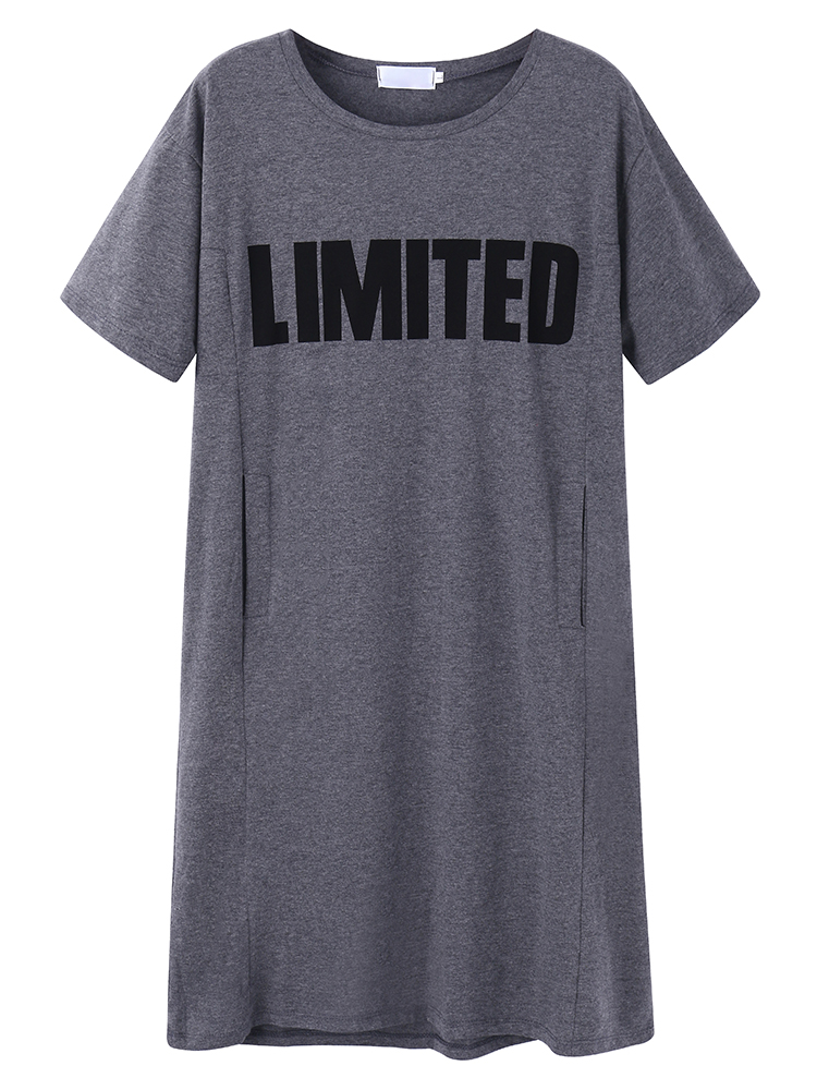 Casual Women Letters Printed T-shirt Dress With Pocket