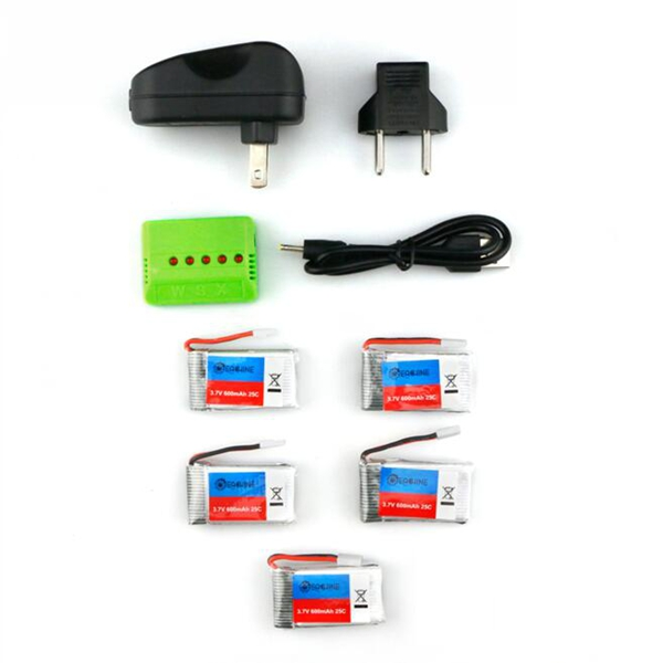 Buy 5X Eachine 3.7V 600mah 25C Lipo Battery With Charger for QX90 QX95 QX80 QX100 EX100 EX105 EX110 X73