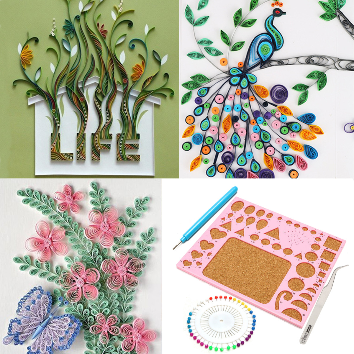 11Pcs Paper Quilling DIY Craft Tool Slotted Template Board Grid Needle Kit Set