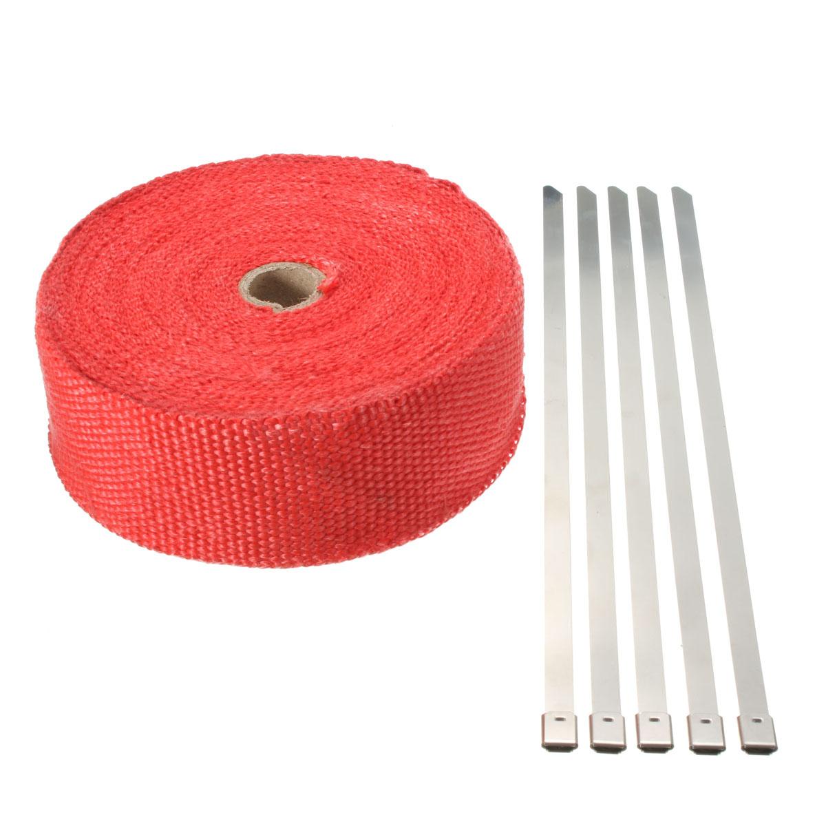 Buy 15M Red Exhaust Header Manifold Pipe Insulating Wrap Heat Tape + 5 Zip Tie