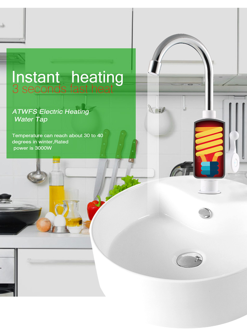 2000w leakage protection plug bathroom kitchen instant hot for 3 bathroom tankless water heater