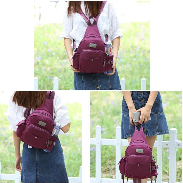 Women Nylon Multifunction Chest Bags Outdoor Sports Light Waterproof Backpack
