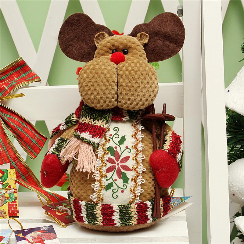 Christmas Santa Claus Snowman Deer Stuffed Doll Standing Decoration Table Ornament  - Photo: 4