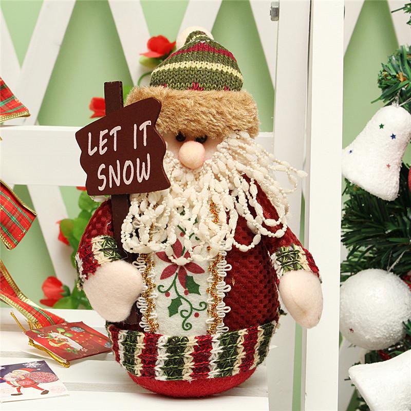 Christmas Santa Claus Snowman Deer Stuffed Doll Standing Decoration Table Ornament  - Photo: 2
