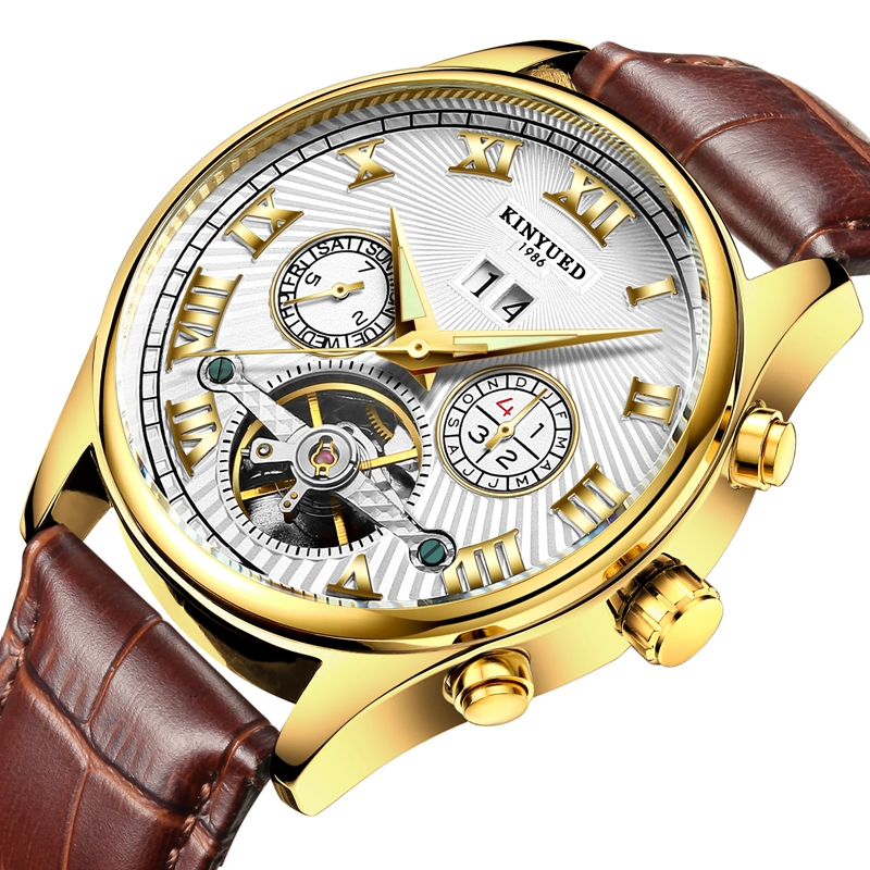 KINYUEDJcalendariorelojautomáticoMecánico reloj de pulsera de cuero de moda reloj de los hombres