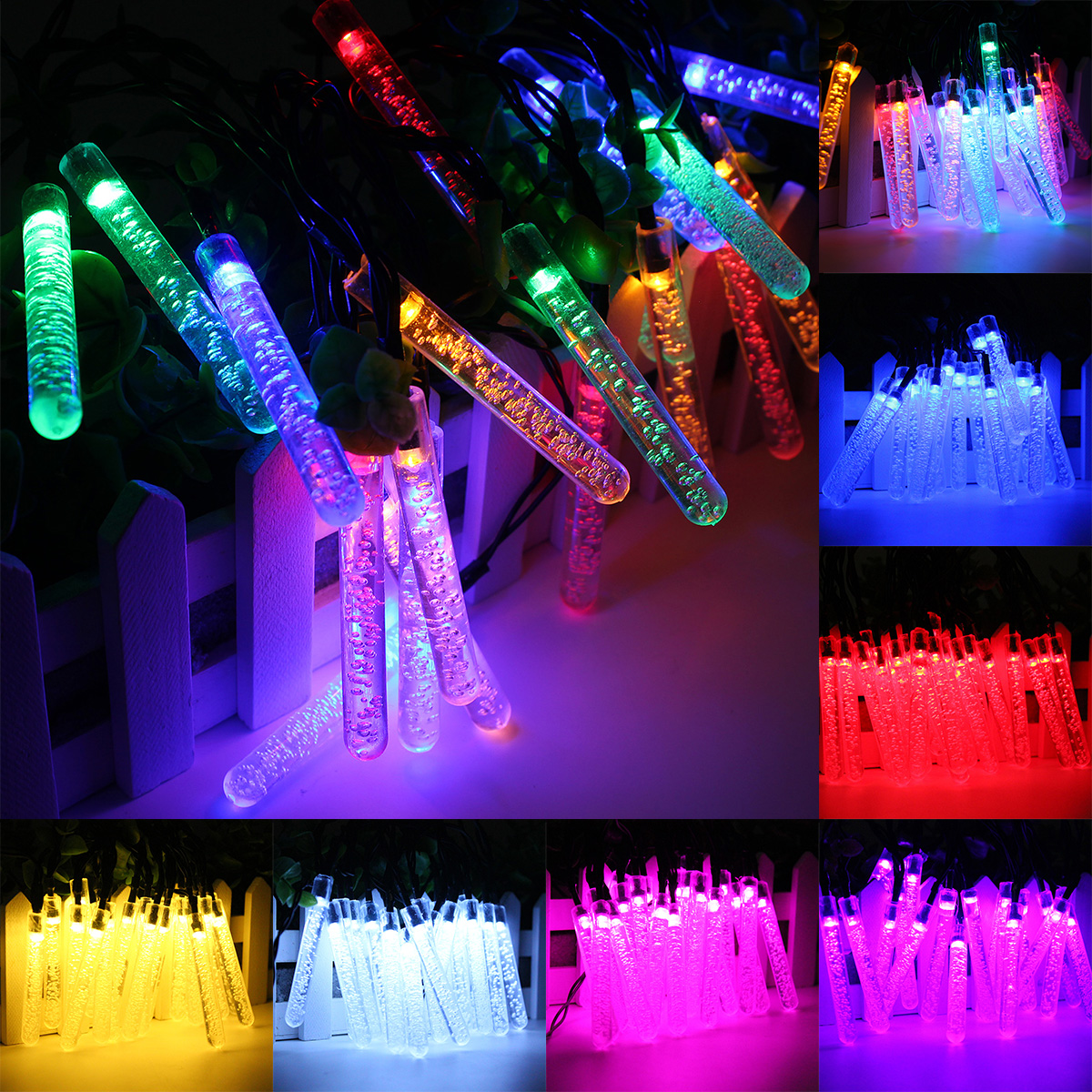 4 8m 20 Led Bubble Icicle Fairy String Light Solar Power