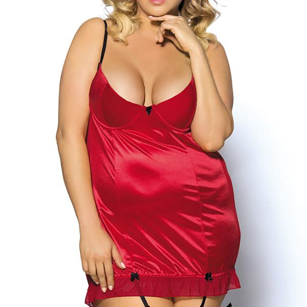 Plus Size 6XL Sexy Straps Back Mesh Hollow Out Push Up Nightie With Garter Babydoll (Eachine1) Costa Mesa Purchase and sale of goods