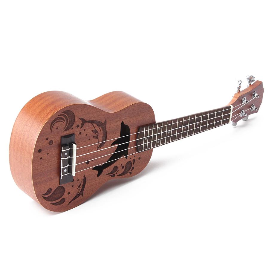 21 Inch Soprano Ukulele Uke Sapele 15 Frets Musical Instrument Dolphin Style - Photo: 4